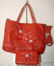 Rhinestone Orange And Layered Petal Large Handbag 2 Piece Set