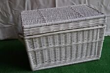 WICKER CHEST STORAGE Trunk Solution Willow Box Lid Toy Blanket Linen WHITE 60cm
