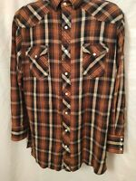 WRANGLER  Pearl Snap Western Shirt XLT mens Tan Brown Black White Plaid vintage