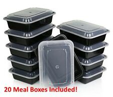 20 Piece Microwave Dishwasher Plastic Lunch Box Food Storage Meal Prep Container