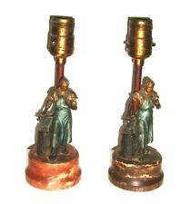 2 Antique Blacksmith Figural Lamps on Marble Base
