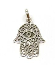 Handmade 925 Sterling Silver Smaller Hamsa Hand of Fatima Pendant Without Chain
