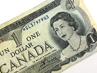 1973 Canada One 1 Dollar Prefix GL Canadian Circulated Replacement Banknote L935