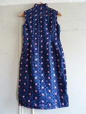 Perfect 60s Vintage Embroidered Cocktail Dress Blue Pink Floral ~ Rockabilly ~ S
