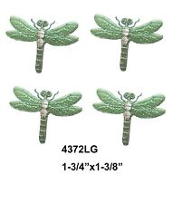 #4372LG Lot 4Pcs GreenSilver Dragonfly Embroidery Iron On Applique Patch