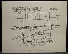 """Dessin  Encre Original Humoristique ARSENE ROISIN  """" Les chiens""""  AR10"""