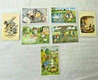 Lot of 7 Vintage Easter Holiday Greeting Postcards Post Card