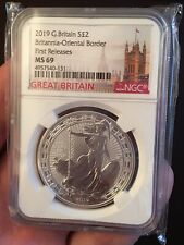 2019 GREAT BRITAIN 1OZ SILVER NGC MS69 BRITANNIA ORIENTAL BORDER FIRST RELEASES