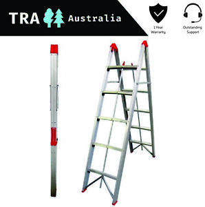 5 STEP COLLAPSIBLE PORTABLE LADDER HOME CLEANING PLATFORM BENCH STOOL TELESCOPIC