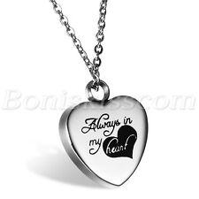 "Women ""always in my heart"" Stainless Openable Memorial Keepsake Pendant Necklace"