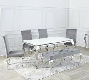 Louis Chrome SET White , Black Glass Dining Room Table & Velvet Chairs 1.6 / 2m.
