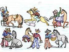 Hand Embroidery Applique Transfer repo 2017 Cowboy Bob & Horse for Rodeo clothes