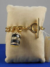Trina Turk Gold Plated Curb Link Chain Crystal Baguette Charm Toggle Bracelet