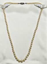 Vintage Mikimoto Graduated Akoya Pearl Necklace Sterling Silver Clasp.