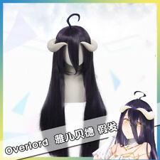 Overlord Albedo Devil Akuma Wig Long Purple Black Anime Cosplay Hair + Wig Cap
