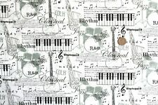 Music Montage fabric, instruments etc. fq 50 x 56 cm Nutex 89720-101 100% Cotton