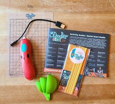 3Doodler Create BUNDLE 3D Printing Pen RED w/Charging Cord, Strands, Doodlepad