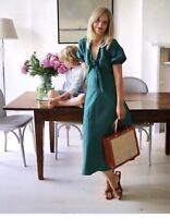 New Zara SS18 Duck Green Midi Linen Dress Front Knot Size M ref 4437/073
