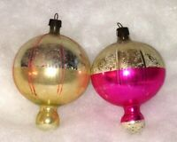 Vtg Christmas Ornaments BALLOON SHAPE Pink 2 Blown Glass Painted Poland 3.5 Inch