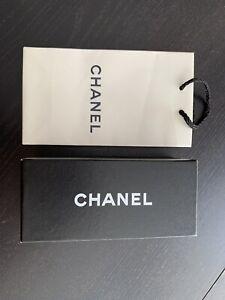 Chanel White paper shopping bag & Black Hard sunglasses box