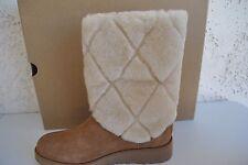 UGG Women's Ariella Luxe Diamond Chestnut Sheepskin Cuff Boots Size US 7.5