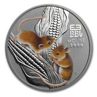 2020 ~ 1 ~ OZ .9999 SILVER ~ LUNAR YEAR of the  MOUSE ~ PERTH COLORIZED ~ $46.88