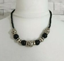 Black Beaded Choker Necklace Silver Tone Carved Beads Costume Jewellery