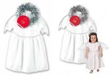 ragazze 3-5 anni RECITA DI NATALE Angel Costume DECORAZIONE AUREOLA ALI ABITO