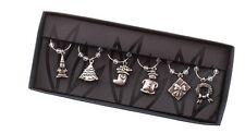 Heaven Sends Christmas Xmas Set 6 Silver Metal Wine Glass Charms CWC002 NEW