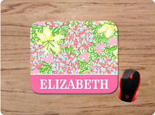 LILLY INSPIRED FLORAL BUTTERFLY PRINT PERSONALIZED NAME MOUSE PAD HOME OFFICE
