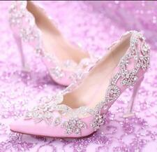 Womens Pointed Toe Rhinestones Pink Stilettos High Heels Wedding Bridal Shoes