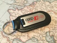 AUDI RS Key Ring Etched and infilled  on leather A 1 2 3 4 5 6 7 8 R RS TT
