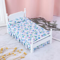 1Pc 1:12 Dollhouse Mini Wooden Bed With Pillow Furniture Model Doll House De mi