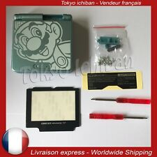Kit coque + vitre Nintendo Game Boy Advance SP GBA Shell Case Aqua Blue - Mario