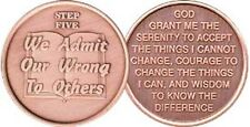 Step 5 Copper Twelve Step Medallion AA NA Recovery 12 Steps Serenity Prayer