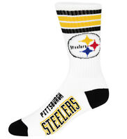 Pittsburgh Steelers NFL For Bare Feet 4 Stripe White Crew Socks SIZE LARGE
