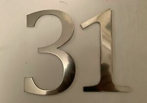 """LARGE METAL NUMBERS 8"""" HOUSE SIGN DOOR LASER CUT ALUMINIUM POLISHED OR PAINTED"""