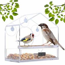 VIVOHOME Acrylic Window Bird Feeder Squirrel Birdhouse Seed Tray Suction Cup NEW