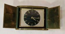 VINTAGE JUNGHANS Double Door Travel Alarm Clock Green & Bronze Case Germany