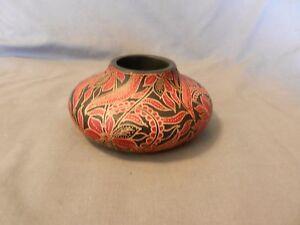 Wooden Red & Black Floral Design Tea Light Candle Holder