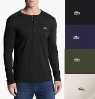 LACOSTE Men Pima Henley Shirt Top Under Shirt Black Blue Grey Olive White TH3082