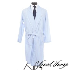 SPRING LUXE Polo Ralph Lauren Sky Blue White Piped Home Robe Dressing Gown S/M