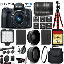 Canon EOS M50 Mirrorless Digital Camera +15-45mm Lens D + UV FLD CPL Filter Kit