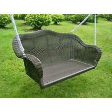 Black Resin Wicker Hanging Love Seat Porch Swing Home Patio Furniture Outdoors