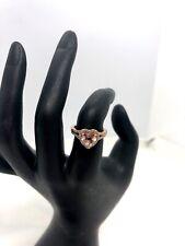 Vintage 14K Rose Gold Morganite & Diamond Heart Ring