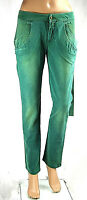 Pantaloni Donna Jeans MET Italy C299 Gamba Dritta Verde Tg 27 veste grande