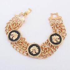 ED15 Chain Link Gold & Black Lion Head Medallion Bangle Bracelet