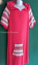 New MONSOON Girls Age 12/13 Coral Pink Red Knitted Fairisle Cosy Dress with Hood