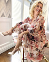 !! H&M CONSCIOUS LONG CHIFFON FLORAL POWDER PINK DRESS BLOGGERS PARTY SIZE XL !