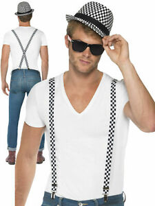 Ska Two Tone Hat & Braces Men Ladies 80s Fancy Dress Costume Trilby 80s Madness